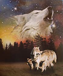 Wolf Family Super Soft Polar Fleece Throw Blanket Wolves Gift Idea 50x60