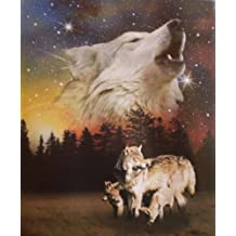 Wolf Family Super Soft Polar Fleece Throw Blanket Wolves Gift Idea 50x60