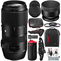 Sigma 100-400mm f/5-6.3 DG OS HSM Contemporary Lens for Canon EF with Sturdy Tripod, Xpix Camera Cleaning Kit & Deluxe Photo Bundle
