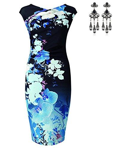 MODETREND Mujer Vestidos Ajustado Estampado Floral Tulipán Vestido para Fiesta Bodas Cóctel Azul