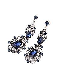 Coromose 1 Pair Fashion Women Elegant Crystal Rhinestone Ear Stud Dangle Earrings