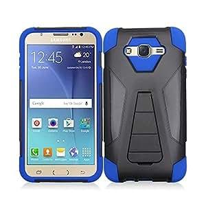 MPERO Samsung Galaxy J7 / J700 (2015) Case, [IMPACT X] Shock Proof Hybrid Cover with Kickstand, Blue
