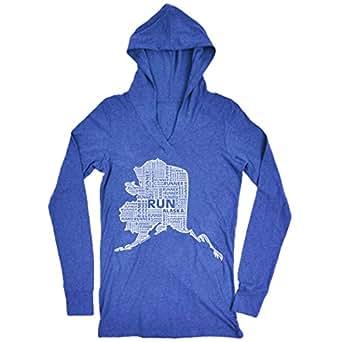 Gone For a Run Women's Lightweight Performance Hoodie Alaska State Runner Adult Small Blue