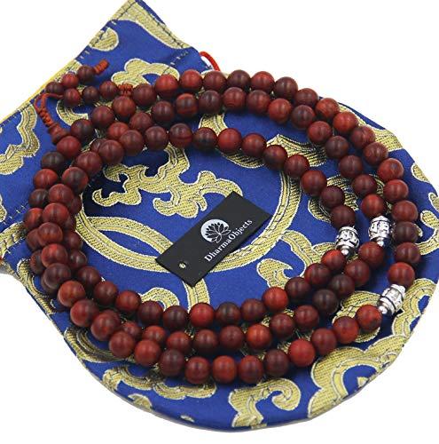 DharmaObjects Tibetan Buddhist Meditation 108 Beads Genuine Rosewood MALA for Compassion (Rosewood) ()