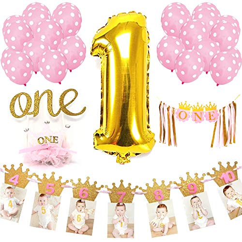 Baby Girl First Birthday Decorations Party Accessories & Supplies | 1st B-day Girls Decoration Set: Huge 1 Balloon, One Cake Topper, Photo Banner, Birthday Crown, Highchair Banner & Pink Balloons
