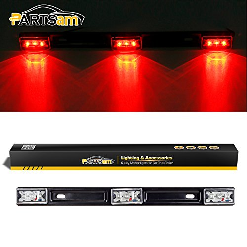 Partsam 14 Clear/Red 3-Lamp ID LED Light Bar Tailgate Mount Replacement for Dodge RAM 1500 2500 3500 Sealed ID Light Bar