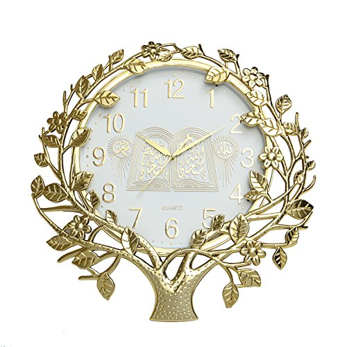 Antique Islamic (Jeteven 22 Inch Retro Wall Clock Silent Non Ticking Quality Quartz Battery Operated Antique Vintage Plastic Wall Clocks Large Decorative Islamic Wall Clock Gold Style 3)