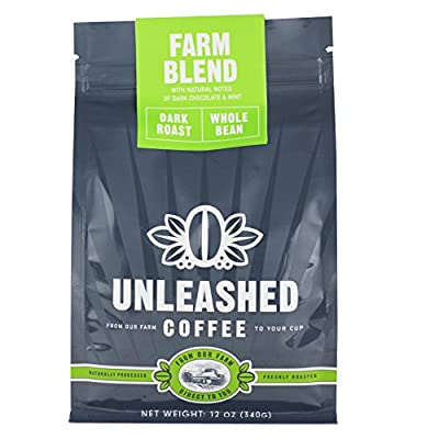 Unleashed Coffee - Farm Blend - Dark Roast, Whole Bean, Strong Coffee, Single Origin, Direct Trade, From the Farmer