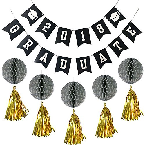 24 pcs Black Silver Gold Graduation Decorations party supplies 2018 Graduate Banner Balloons Honeycomb Tissue Paper Tassel For Congrats Grad Decor Congratulation Theme Parties supply
