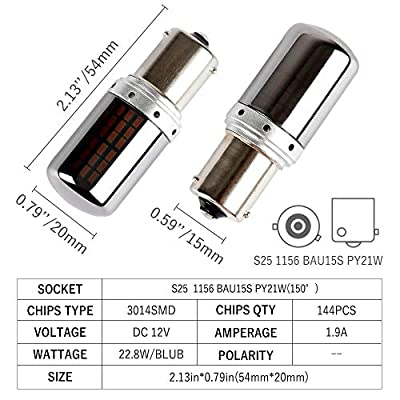 BAU15S PY21W 1156 S25 LED Bulbs Amber Yellow Turn Signal Lights Error Free No Anti Hyper Flash Tail Lamps Front Rear Replacement Bright Chrome Invisible 3014SMD 12V 21W 1 Year Warranty 2 Pack【1797】: Automotive