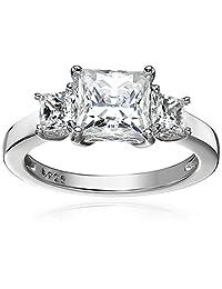 Platinum-Plated Sterling Silver Princess-Cut Swarovski Zirconia 3 Stone Ring (2 cttw)