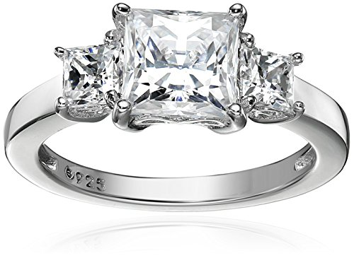 Platinum-Plated Sterling Silver Princess-Cut 3-Stone Ring made with Swarovski Zirconia (2 cttw), Size 5