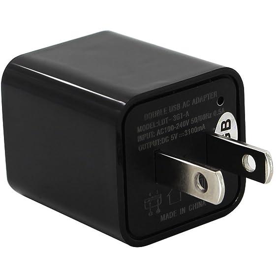 Mengshen 1080P HD Mini AC USB UE Cargador de pared Adaptador Hidden Spy Camera/Nanny Espía adaptador de la cámara con memoria de 8 GB Ciclo de ...