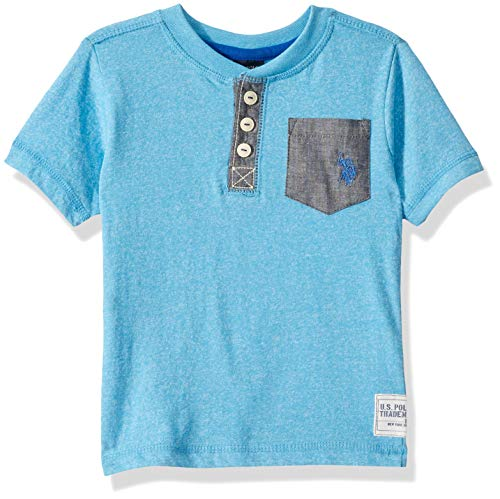 U.S. Polo Assn. Boys' Big Short Sleeve Henley T-Shirt, Marbled Jersey Chambray Pockets Marled Coast Azure 10/12