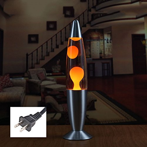TOOGOO US Plug LED 110v Metal Base Lava Lamp Wax Volcano Style Night Light Jellyfish Nightlight Glare American plug(Orange)