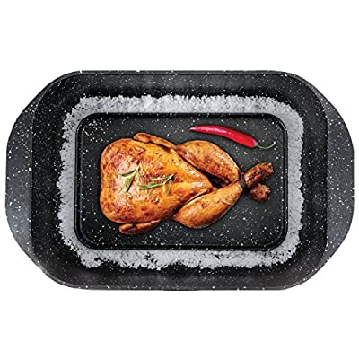 The Multi Roaster Roasting Pan with Innovative Salt Canal and Black Marble Stone