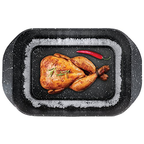 The Multi Roaster Roasting Pan with Innovative Salt Canal and Black Marble Stone by Multi Roaster