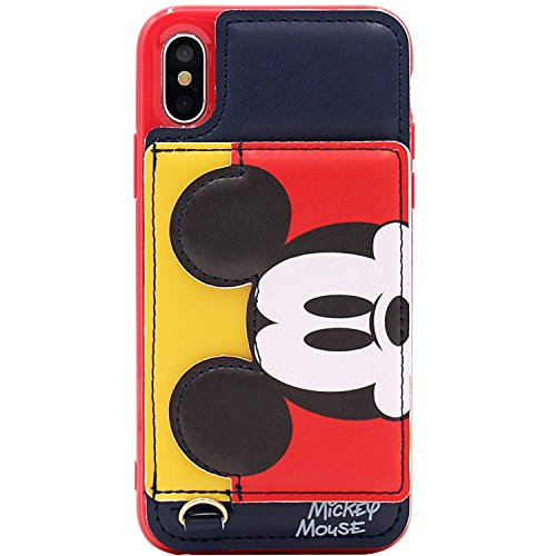 Black Mickey Mouse Leather Case with Card Holder Stand for iPhone Xs Max 6.5 Slot Pocket Kickstand Disney Cartoon Protective Pratical Shockproof Cute Lovely Chic Gift Kids Boys Girls Little Girls