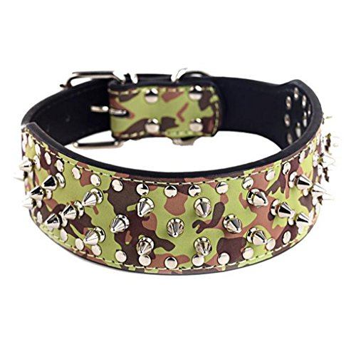 BTDCFY Hoot PU Leather Adjustable Spiked Studded Dog Collar 2