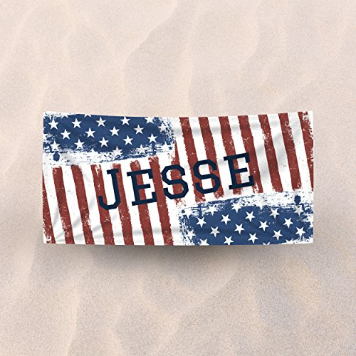 "Sized Monogram Flag - Fyrcracker Personalized Jumbo XL Premium Beach Towel, Super Soft 35 x 70"" Cotton/Microfiber, Red White and Blue American Flag Stars and Stripes Grunge Custom Pool Towel for Kids, Teens, and Adults"