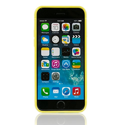 "iProtect housse de protection cuir synthétiquee flexible Soft Case Mesh Apple iPhone 6 (4,7"") en jaune"