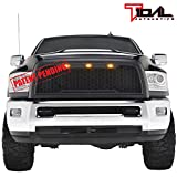 4500//5500 Topline Autopart Glossy Black Big Horn Style Front Hood Bumper Grill Grille ABS with Shell For 10-18 Dodge Ram 2500//3500