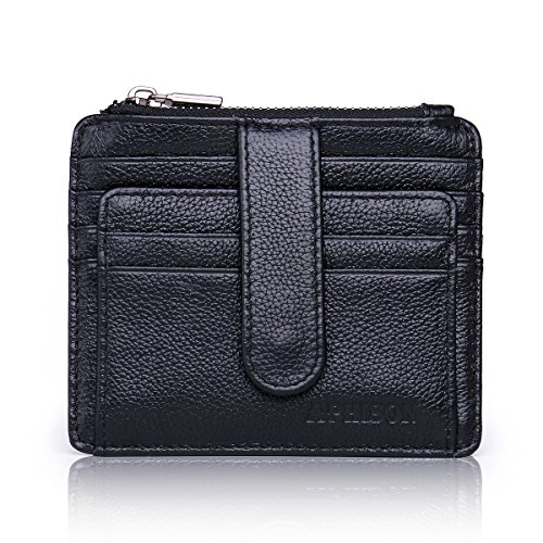 Leather Card RFID Box Wallet Gift APHISONUK Slim Real Front Black Pocket Blocking Holder q6g5A5O