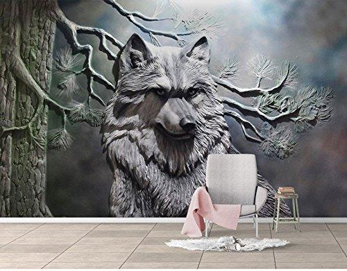 Wh-Porp Wandbild Tapeten 3D Stereo Relief Abstrakt Wolf Kunst Wand Restaurant Wohnzimmer Schlafzimmer Tapete 3D Wandbild Dekor-350Cmx245Cm