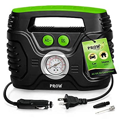 Prow Portable Air Compressor Tire Inflator AC/DC Electric Pump for Car – DC 12V, Home – AC 110V, Upscale, with Analog Pressure gauge, Air pump for Car Tires, Motorcycle, Bike, Basketball and More.: Home Improvement