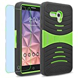 Alcatel OneTouch Fierce XL Case, INNOVAA Turbulent Armor Case W/ Free Screen Protector & Touch Screen Stylus Pen - Green/Black