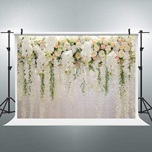 Riyidecor Bridal Floral Wall Backdrop Wedding 3D Rose 7x5 Feet Reception Ceremony Photography Background Photo Birthday Party Dessert Table Photo Shoot Backdrop Polyester Fabric