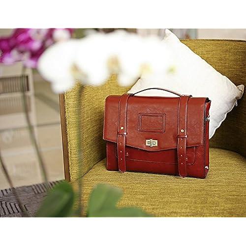 227217a4d8f1 ECOSUSI Ladies Faux Leather Briefcase Shoulder Laptop Messenger Bags  Satchel Bag Cambridge Backpack Fit 14