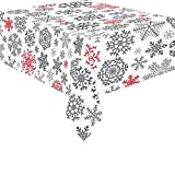 InterestPrint Home Decor Christmas Jacquard Snowflake Tablecloth Sets 52 X 70 Inches - Red and Black Snowflakes Tablecover Desk Table Cloth Cover Party Decoration