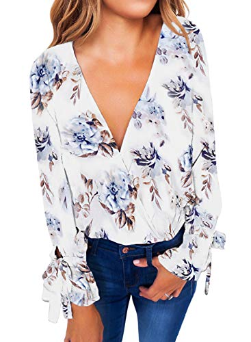Itsmode Womens Fashion Floral Print V Neck Long Sleeve Flare Chiffon Blouse Crisscross Shirts Loose Tops Fall White Small