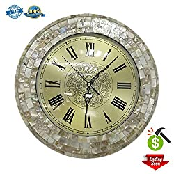 Decor Wall Clock Decorative Silent Non-ticking 13 Gold Elegant Sea Shell Wall Clock For Living Room Hotel Office By Smarten Arts