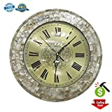 Decor Wall Clock Decorative Silent Non-ticking 13'' Gold Elegant Sea Shell Wall Clock For Living Room Hotel Office By Smarten Arts