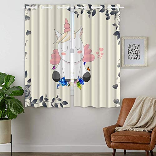 YISUMEI Pink and Cute Unicorn 24×36 inches Blackout Window Curtain 2 Panels