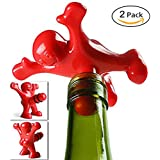 Warmtree Happy Red Man Novelty Bottle Stoppers,Pack of 2