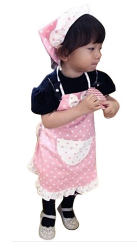 CRB Little Girls KidsキッチンToddler Chefベイカー再生子供のエプロンポケットヘッドスカーフ衣装セット 6 to 7 Years Old ピンク 6 to 7 Years Old ピンク B01LXPLIW1