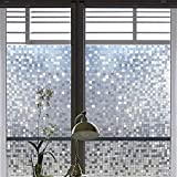 Coavas Static Cling Window Film Squares Self-Adhesive Decorative Glass Decorative Window Film Privacy for Home and Kitchen Glassm,35-inch by 78.7-inch
