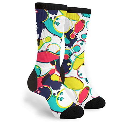 Packsjap Abstract Watercolor Bowling Ball Men & Women Casual Cool Cute Crazy Funny Athletic Sport Colorful Fancy Novelty Graphic Crew Tube Socks