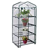 oldzon Portable Mini 4 Shelves Greenhouse Raised Plants Flower Garden Patio Lawn With Ebook