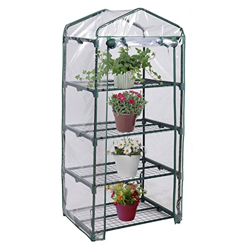 Imtinanz Modern Outdoor Portable Mini 4 Shelves Greenhouse