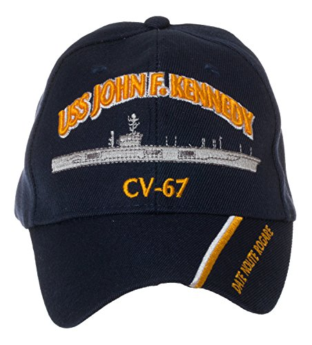 - Artisan Owl Officially Licensed USS John F. Kennedy CV-67 Embroidered Navy Blue Baseball Cap