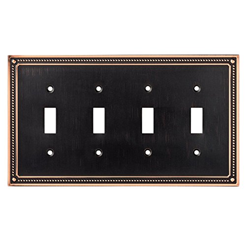 Franklin Brass W35068-VBC-C Classic Beaded Quad Toggle Switch Wall Plate / Switch Plate / Cover, Bronze with Copper Highlights