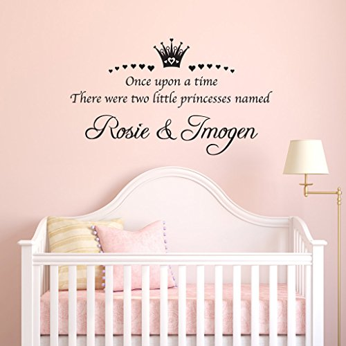Personalised Name Twins Princess Sisters Vinyl Wall Sticker Decal Bedroom Girl's Nursery Decoration