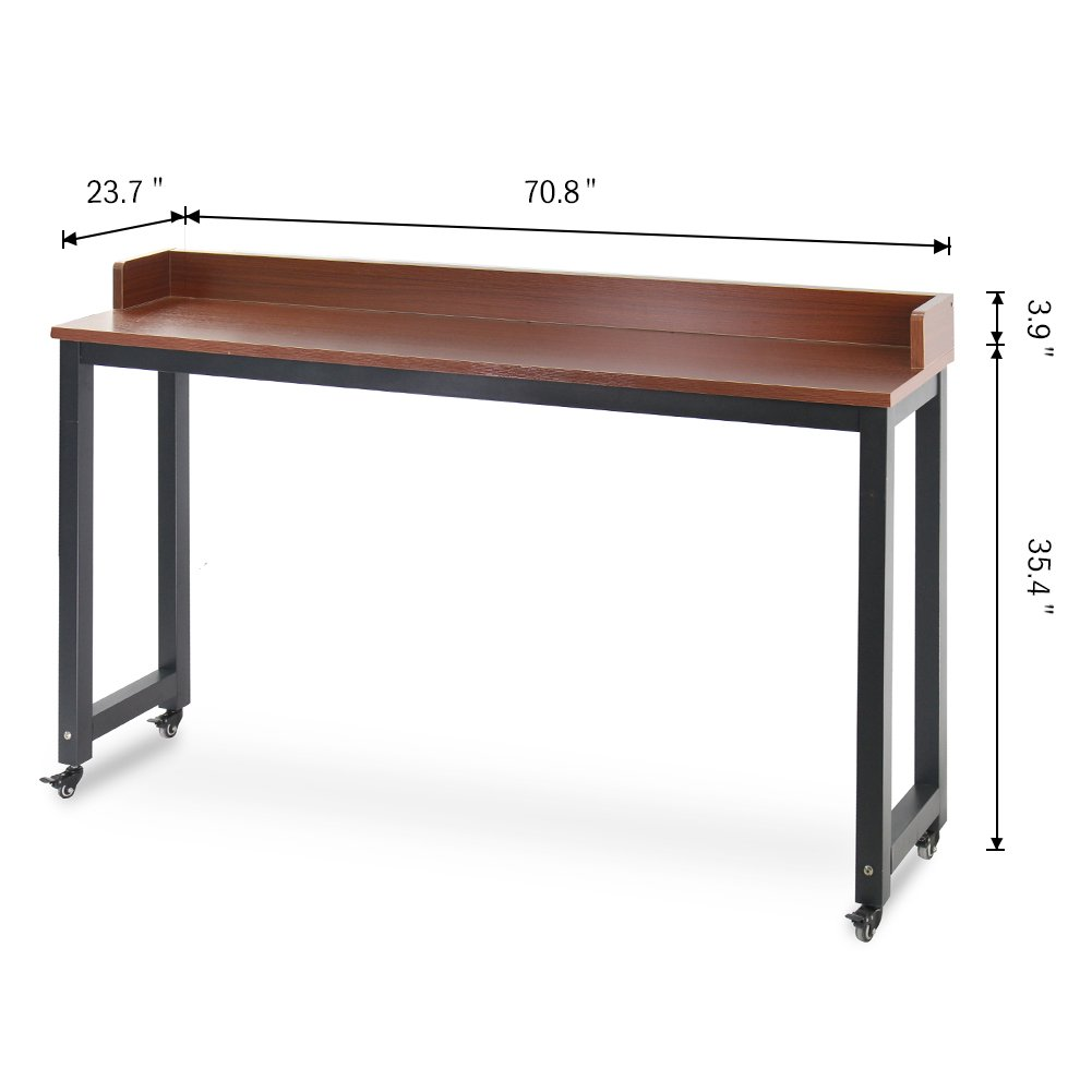 Overbed Table with Wheels, Tribesigns Mobile Desk with Heavy-Duty Metal Legs & Large Work Surface Works as Computer Desk or Nursing Table, for Home and Hospital Use (Teak.) by Tribesigns