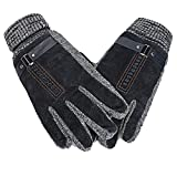 Cozy Design Men's Leather Gloves with Screen Touch Style Belt