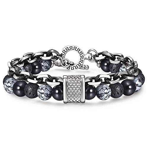 Trendsmax Black Lava Rocks Beaded Mens Bracelet Onyx Beads Snowflake Obsidian Stainless Steel Chain Wristband Yoga Meditation 9inch