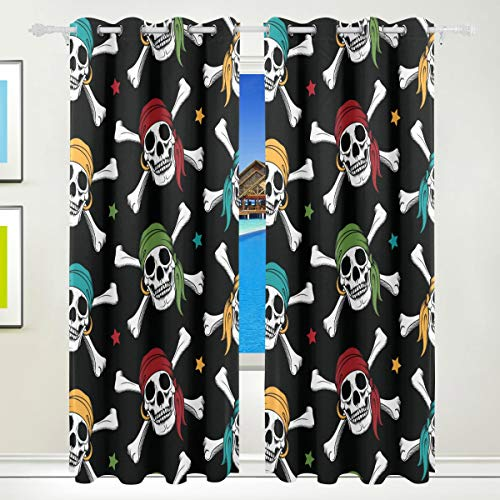 - XiangHeFu Morden Blackout Curtains with Grommet Top Crossbone Skull Pirates Colorful Scarf Draperies Set of 2 Panels,Each 55W x 84L Inch for Home Living Room Bedroom Office